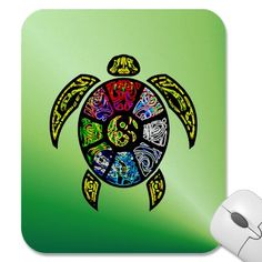 Turtle Ba-Gua Mousepad from Jan4insight* - This turtle proudly bears upon his shell the Ba-Gua colors, swirling in a neon-bright interpretation, according to Black Hat school of Feng Shui. Display this colorful graphic design to honor the tortoise-shell from which Feng Shui and all of the Chinese arts developed. $11.45