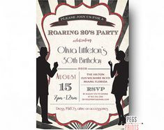 art deco birthday invitation great gatsby by TinyConfetti on Etsy
