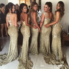 2016 Gold Sequin Bridesmaid Dresses Mermaid 5 Styles For Choice Split Skirt Gold Maid of Honor Dresses Custom Made For Wedding Party Dress