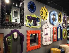 Colorful painted mirrors galore at High Point Market! #hpmkt