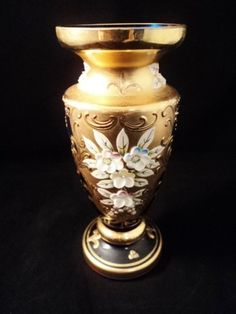 Vintage Czech Glass Bohemian Vase Gold Gilded Over Cobalt Blue Icing Flowers
