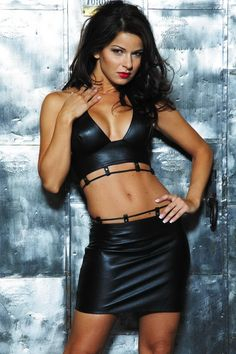 Leather Bustier and leather Skirt, Leather lace up back with adjustable velcro #5-119 http://www.e-leatherjackets.com/leather_lingerie_detail.asp?PID=268
