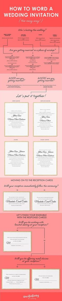 You've probably thought about how you're going to word your wedding invitations at least once or twice. Invitation wording can be as simple or as complex as you want it to be. Start with who's hosting and we'll help you take it from there!