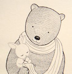 Print Original Ink Drawing Bear Bunny illustration by mikaart, $7.99