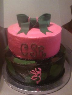 Pink Camo Baby Shower Cakes | The Cupcake Cafe   Kids Birthday Cakes