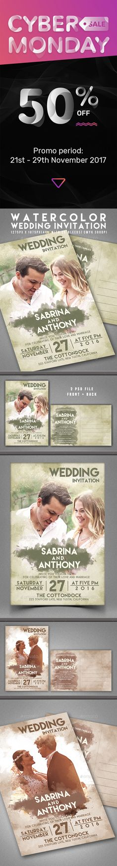 Wedding Invitation Template PSD - Available at 50% off during Cyber Monday! Promo period: 21st - 29th November 2017