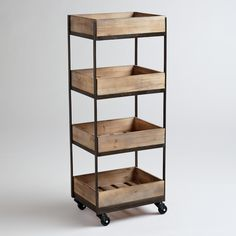 """4-Shelf Wooden Gavin Rolling Cart 