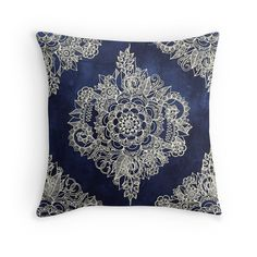 """""""Cream Floral Moroccan Pattern on Deep Indigo Ink"""" Throw Pillows by micklyn   Redbubble"""