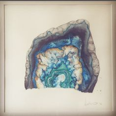 """""""Agate Geode"""" - watercolor and metallic acrylic painting by Noelle Phares. #mineral #geode #geometric #watercolor #painting #print"""
