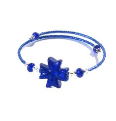 Murano Glass Cobalt Blue Cross Bangle Bracelet by JKCJewels, $21.00