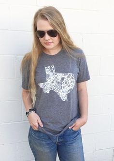 Texas Shirt, Cactus Tee, XL, State of Texas T shirts, Wildflower, Texas Girl, Texas Tshirt
