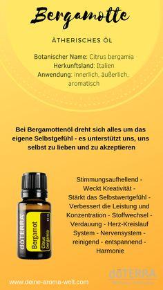 Bergamot Oil – Bergamotteöl – Bergamotte ätherisches Öl – doTERRA Deutsch – A… Doterra Essential Oils, Essential Oil Blends, Stuffy Nose Essential Oils, Bergamot Essential Oil, Aromatherapy Oils, Diffuser Blends, Ayurveda, Essential Oils, Gera