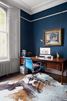 Inspiration Home Office Design Ideas. Hence, the demand for house offices.Whether you are planning on adding a home office or refurbishing an old space into one, here are some brilliant home office design ideas to assist you get going. Blue Office Decor, Modern Office Decor, Home Office Design, Office Ideas, Office Designs, Desk Ideas, Home Office Paint Ideas, Office Colours, Navy Office