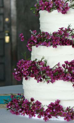 Purple Wax Flower Wedding Cake. These little flowers would be perfect for corsages, bouquet accents & boutonniere.