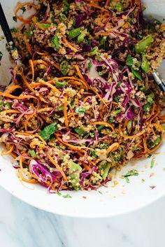 Thai Peanut & Quinoa Salad This Thai-flavored quinoa salad recipe is colorful, crisp and delicious! It's also vegan and gluten free. This Thai-flavored quinoa salad recipe is colorful, crisp and delicious! It's also vegan and gluten free. Healthy Salads, Healthy Eating, Healthy Recipes, Vegetarian Quinoa Recipes, Raw Recipes, Quinoa Salad Recipes Cold, Avocado Recipes, Farro Recipes, Paleo Salad Recipes