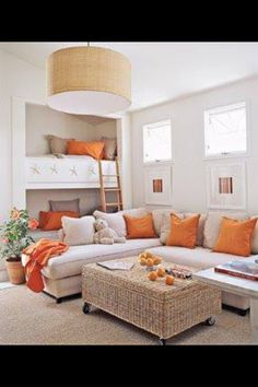 orange, white and beige. built in bunks :: guest house/ tv / family room My Living Room, Living Spaces, Bunk Beds Built In, Loft Beds, Bunk Rooms, Bedrooms, My New Room, Home Interior, Interior Ideas