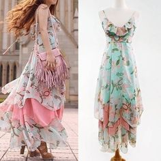 Boho Maxi Dress Chiffon Dress Summer Floral Dress Beach Dress Bohemian Sundress #MDSTUDIO #Maxi #SummerBeach