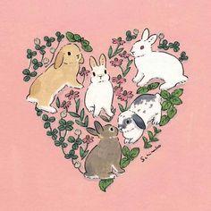 Acrylic Paint by Schinako Moriyama. Schinako Moriyama is an illustrator as bunny art from Fukushima, Japan Continue reading and for more Acrylic art→View Website Bunny Drawing, Bunny Art, Cute Bunny, Bunny Painting, Cute Drawings, Animal Drawings, Rabbit Art, Graphic, Cute Art
