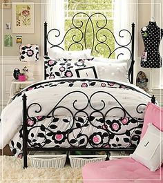 Sweet girls bedroom. Love the bed