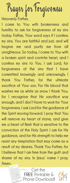 Prayer for forgiveness: this simple prayer emphasizes the importance of approaching God with humility, and a heart that's repentance because that's all we really need to access His grace. Prayers and how to pray Prayer For Forgiveness, Prayer Scriptures, Faith Prayer, God Prayer, Power Of Prayer, Prayer Quotes, Spiritual Quotes, Strength Prayer, Repentance Quotes