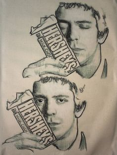 Lou Reed with Hershey's Bar. Charcoal Line Drawing.
