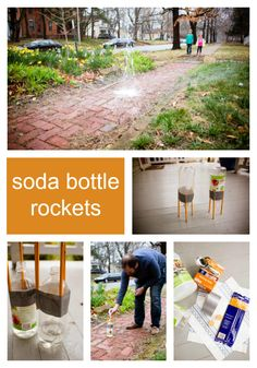 With a few basic parts from your recycling bin — and some vinegar and baking soda from your pantry — you, too, can be a rocket scientist. These rockets really fly! Sparkle Stories, Sparkle Crafts, Soda Bottles, Recycling Bins, Space Exploration, Summer Crafts, Science Projects, Rockets, Vinegar