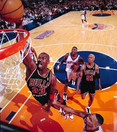Michael Jordan throwing it down at Madison Square Garden against the New York Knicks