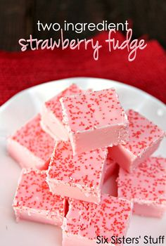 Two Ingredient Strawberry Fudge on SixSistersStuff.com - the easiest fudge you will ever make!
