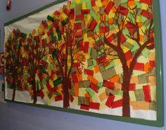 Mural decoratiu: Fons de retalls de paper de seda i dibuixats amb pintura els arbres.