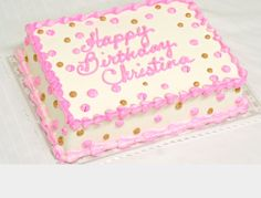 Hot Pink And White Half Sheet First Birthday Cake