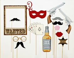 Western Themed Photobooth Props. Photo Booth Props. Wedding, Birthday Photo Prop. Wanted. $55.00, via Etsy.