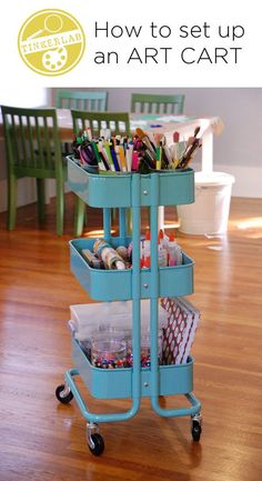 Set up an art cart and wheel your supplies wherever you need them. This would be great for kids, too!