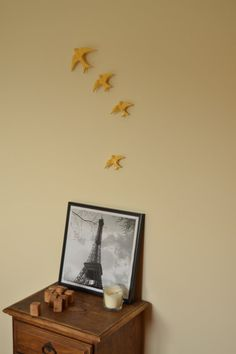 Yellow Hanging Swallows. Set of 4 5 or 6 by FeiradeBarcelos