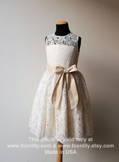 """Flower girl: Ivory OR White Lace Dress """"Petra with Silk Sash and Bow"""", Flower Girl Dress, Communion Dress, Knee-long, CUSTOM  size. $210.00, via Etsy."""