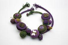 Handmade crochet necklaces (2 in 1), green purple, OOAK. Love the colors.  Interesting format.