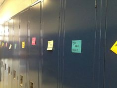 Small acts of kindness. After two high school students at the same high school committed suicide, a few seniors got thousands of Post-It notes and put them on every locker with a message. School Clubs, I School, High School Students, Senior Year Pranks, High School Pranks, School Campaign Ideas, Student Council Campaign, High School Counseling, Student Leadership