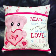 Reading Cushion - first order! One very happy little girl! Teddy design from www.kreativekiwiembroidery.co.nz #machineembroidery #presents #bunting Make Bunting, Kiss Goodnight, Machine Embroidery, Little Girls, Cushion, Presents, Throw Pillows, Reading, Happy