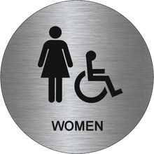 Bathroom Sign Handicap ada accessible title 24 men's restroom door sign, brushed metal