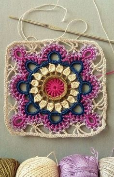 Transcendent Crochet a Solid Granny Square Ideas. Inconceivable Crochet a Solid Granny Square Ideas. Motif Mandala Crochet, Crochet Mandala Pattern, Granny Square Crochet Pattern, Crochet Squares, Crochet Diagram, Beau Crochet, Love Crochet, Crochet Flowers, Quick Crochet