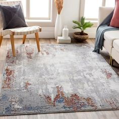 "Shop Fauci Modern Industrial Area Rug - Overstock - 31253446 - 7'10"" x 10'3"" - Grey Industrial Area Rugs, Modern Industrial, Fade Color, Bright Purple, Rugs In Living Room, Room Rugs, Large Furniture, Accent Rugs, Grey Rugs"
