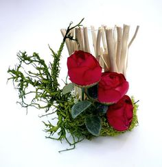 Wood candlestick with  Arranged Artificial Flowers by wandadesign, €19.00