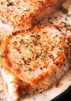 Delicious Boneless Pork Chops in Creamy Garlic & Herb Wine Sauce One Skillet dish is low on carbs, easy to prepare and ready in less than Best Pork Chop Recipe, Pork Chop Recipes, Meat Recipes, Gourmet Recipes, Healthy Recipes, Gluten Free Pork Chop Recipe, Casserole Recipes, Chicken Casserole, Free Recipes