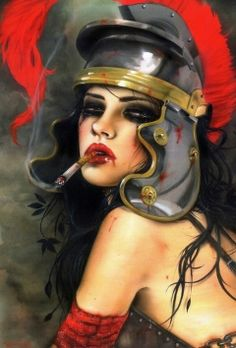 """The """"girls,"""" as he calls them, are a symbol of the strong women that grace his life every day, from his mother to his wife, his inspiration radiating from the strength and attitude they impose. The girls are Hollywood macabre with their puckered lips and disillusioned charm. In Viveros's paintings, he captures elements of roses, gladiator helmets, tattoos, and a collage of various head gear to instill power upon these women.    The red roses are a symbol of his Spanish upbringing, he says, the ..."""