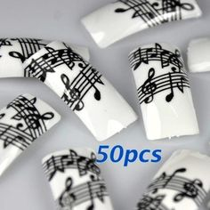 50 Black White Music Note French False Nail Tips NEW by 350buy *** You can get additional details at the image link.