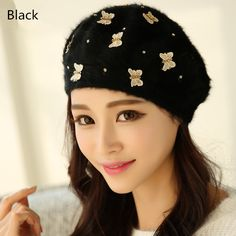 Butterfly beret hat for winter Beautiful knit hats