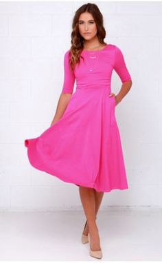 Having a Shindig Hot Pink Midi Dress $54 lulus.com