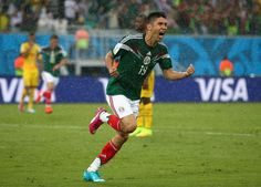 Mexico's forward Oribe Peralta celebrates scoring the game-winning goal for El Tri in the 61st minute.