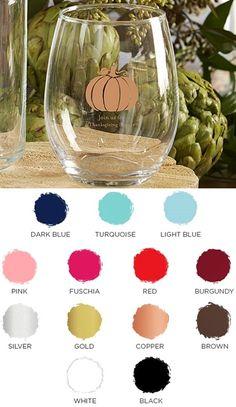 Personalized Thanksgiving Pumpkin Design 9 oz. Stemless Wine Glasses