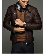 MEN SLIM FIT LEATHER JACKET,MEN JACKETS, BIKER LEATHER JACKET - $149.99