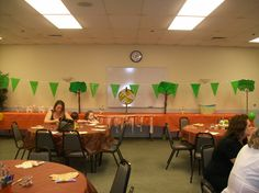 Game table setups with Trees and Flags... Excuse the people they always arrived too early...lol